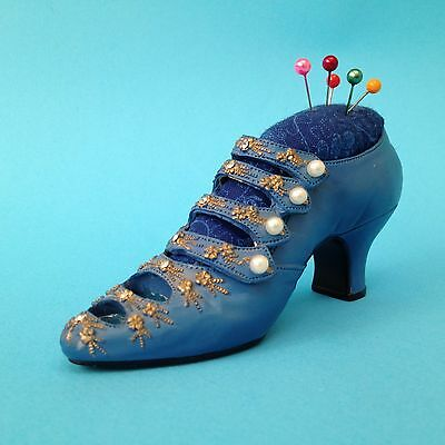 1990's Ornamental  Shoe PIN CUSHION - Pearlised Buttons,  Small Diamonte Detail