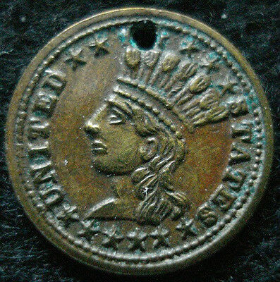 1868 Cherokee Head-Dressed Indian One Dollar Gaming Counter Token