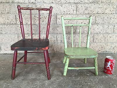 Vintage Wood Chairs - Set of 2 - Children Child Doll Playhouse Wooden Seat