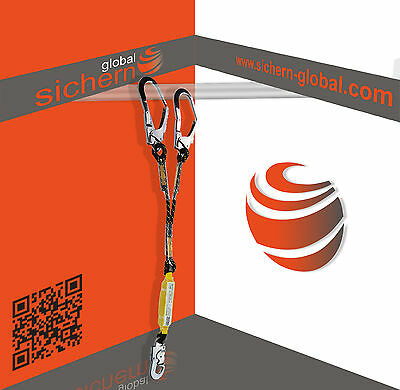 High Quality Climbers Double Rope Fall Arrest Lanyard With Scaffold Hook 1.5M