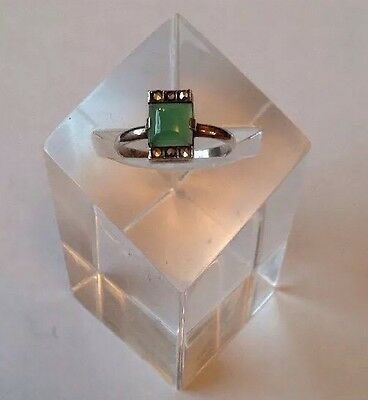 Antique Art Deco Solid Silver Jade & Marcasite 1930's Ring UK Size R 1/2.