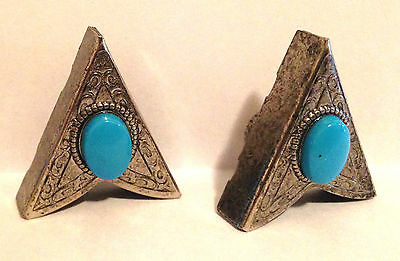Vtg USA Silver tone, Turquoise Collar Tips, Screw on, Navajo, Southwestern