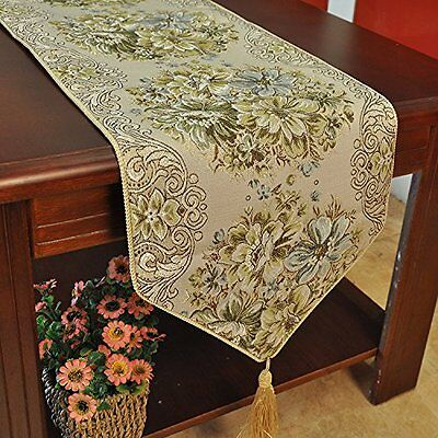 Hiendure  Luxury Floral Table Runner Gold Tapestry with Tassels  28 180cm, Green
