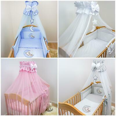 Crown Cot Canopy / Drape Net with Decorative Bow / Moon / Star Fits Baby Cot Bed