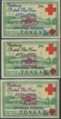 Tonga official 1971 SGO62 Philatokyo imperf set of 3 MNH