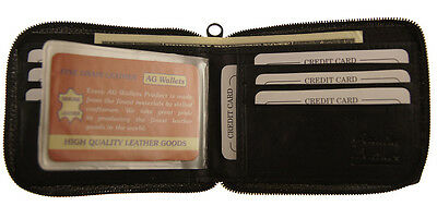 Men's Genuine Leather Bifold Zip around Wallet Credit Card Inserts Money Purse