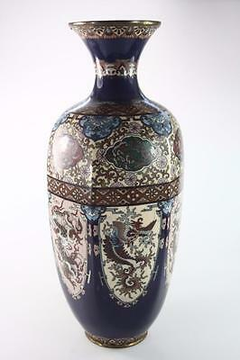ANTIQUE JAPANESE MEIJI PERIOD LARGE CLOISONNE VASE 36.5 cm tall