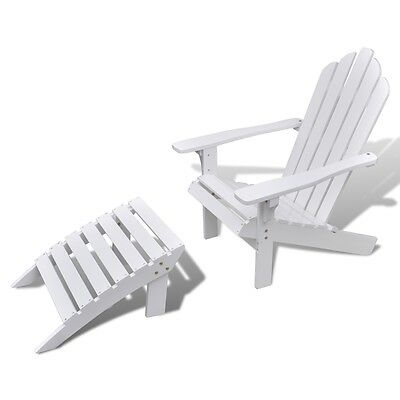 New Outdoor Garden Patio Wood Chair with Ottoman/Stool White Weather Resistant