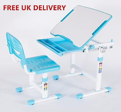 Children Study Desks & Chairs Suite, Height Adjustable, Ergonomic Design (BLUE)