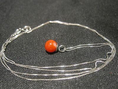 Beautiful Vintage 14K Solid White Gold Chain & Genuine Red Coral Pendant Estate