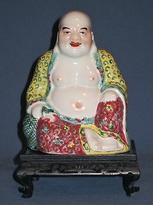 Antique Chinese Famille Rose Porcelain Buddha Statue c.1900