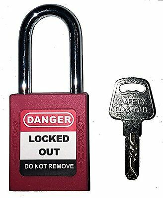 Mason Lockout Tagout KEYED DIFFERENTLY Safety Lockout Padlock, Red