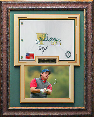 Phil Mickelson Signed 2013 Presidents Cup Flag Framed