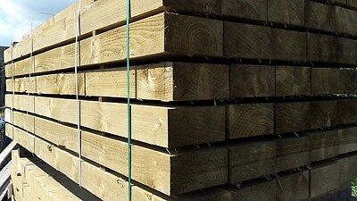 "New Railway Sleepers - 200mm X 100mm / 8"" X 4 -  2.4m / 8ft Long - Tanalised"