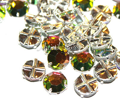 12 STRASS Cristal SWAROVSKI Serti Pl Ar à coudre Rose Montees Vitrail Medium 8mm