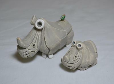 Pair Mother Baby Rhino Carved Stone Figurines w/ Tiny Bird on Mother's Tail