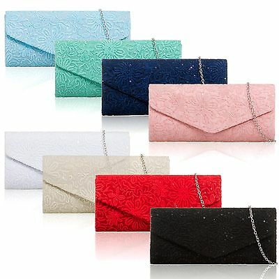 Women Floral Lace Satin Clutch Bag Bridal Designer Ladies Evening Party Prom New