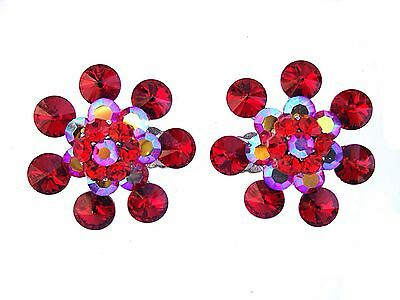 Gorgeous Red Clips Made with Swarovski Crystals Ballroom Dance Pageant Dragqueen