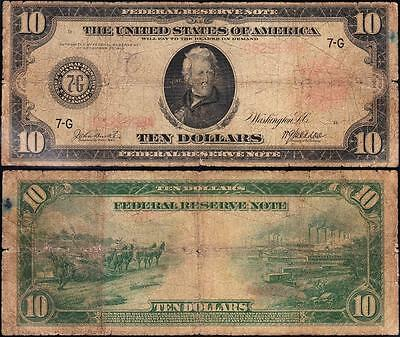 """*RARE* 1914 $10 """"CHICAGO"""" RED SEAL FRN Note! FREE SHIPPING! G625598A"""