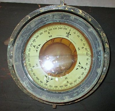 Vintage Bronze Kelvin & Wilfred O White of Boston Naval Ship's Compass.