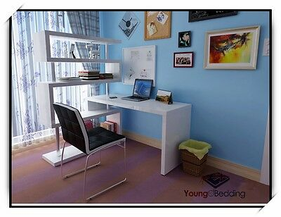 Corner Workstation - Swivel Computer/Study Desk & Bookshelf in High Gloss White