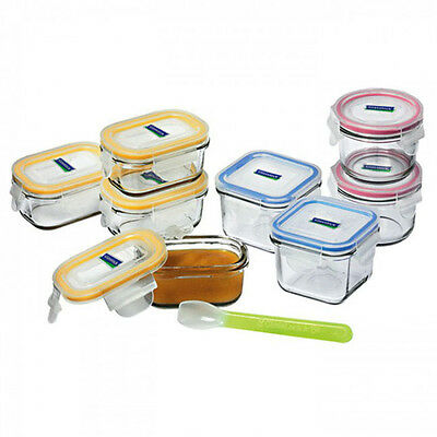 Glasslock 9pc Baby Meal Food Container Set BPA Free Spoon Tempered Glass Storage