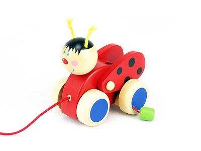LADYBIRD Wooden PULL ALONG Toy Wings Move Up & Down Kaper Kidz GIFT 1st Birthday