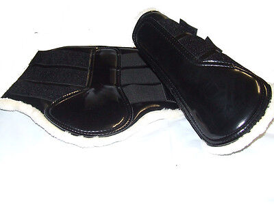 Patent Black Horse Work Boots with Fleece Lining -  large