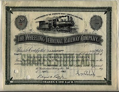 Wheeling Terminal Railway Company Stock Certificate West Virginia & Ohio