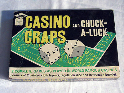 Casino Craps & Chuck-A-Luck Poker Dice Game Lowe Vintage 1962 Felt Table Layout