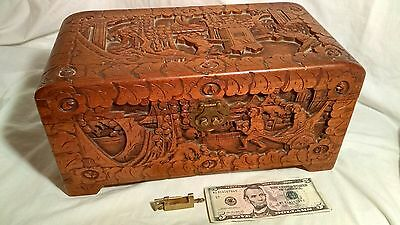 VINTAGE Chinese Aromatic Wooden hand carved Box Hong Kong China with lock, chest