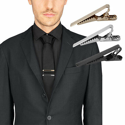 Formal Men's Alloy Metal Fashion Silver Simple Necktie Tie Pin Bar Clasp Clip BU