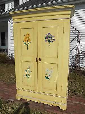 Armoire Yellow Flora Painted Antique 19th Century Victorian Wardrobe Knock Down