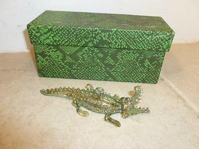 Highly Detailed Art Glass Crafted Gold Leaf Accent Alligator Crocodile Ornament