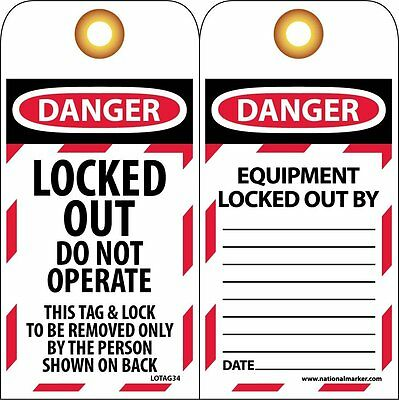 "NMC LOTAG34 Lockout Tag, ""DANGER, LOCKED OUT DO NOT OPERATE"", 3"" Width x 6"" on"