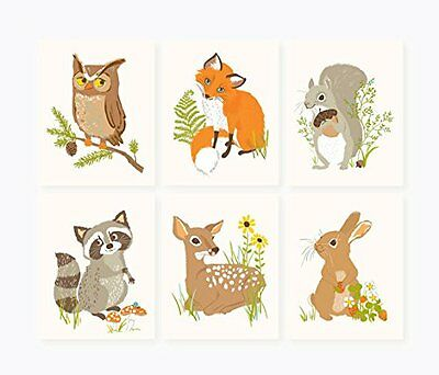 Wall Print Decor Woodland Forest Animal Friends Nursery Accessories Set Of 6