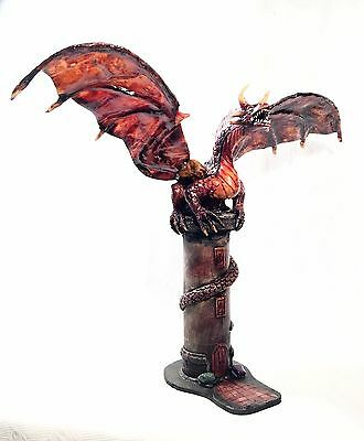 EXTREME   *   ORIGINAL ART | RED DRAGON SCULPTURE | 23 inch WIDE x 19 inch TALL