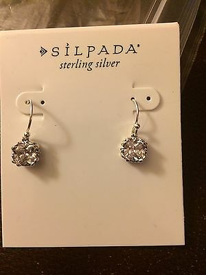 """SILPADA W3383 NEW WITH TAGS!  Sterling Silver CZ """"Blissful Thinking"""" Earrings"""