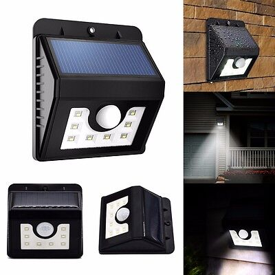Bright PIR 8 LED Solar Outdoor Waterproof Motion Sensor Gutter Wall Garden Light