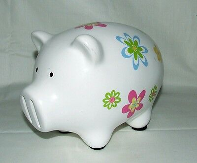 Vintage~Unusual Nose Slots~White Floral Pottery Pig Piggy Bank~Ceramic~Flowers