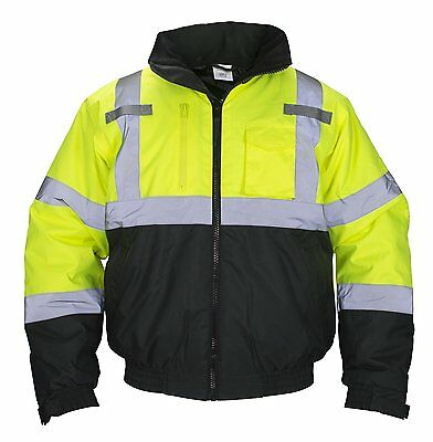 SAS Safety 690-1509 Hi-Viz Class-3 Hooded Bomber Jacket, Large, Yellow