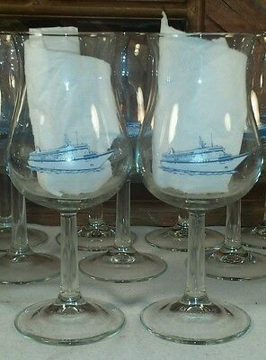 NORWEGIAN CRUISE LINES Vintage Wine Tulip Glass no name - Matching Set of 2