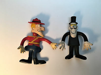 Vintage Rubber Bendable Dudley DoRight and Snidely Whiplash - Wham-O 1972