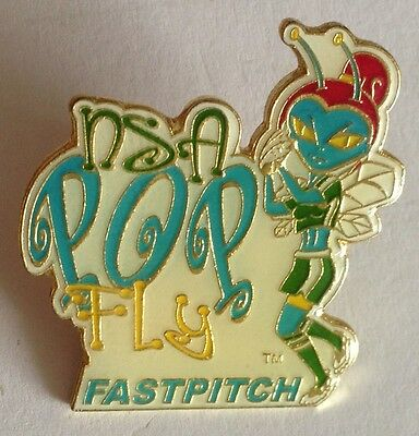 NSA Pop Fly Fastpitch Girls Softball Large Pin Badge Rare Authentic (E2)