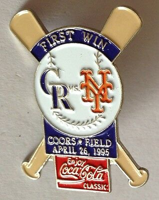Yankees Coors Field 1995 First Win Baseball CocaCola Pin Rare Authentic (E2)