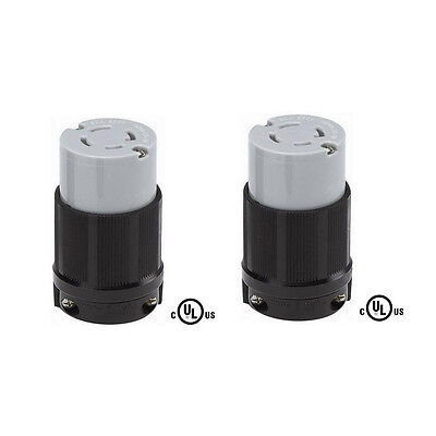 2 Pack of L15-30R Locking Connector, Rated for 30A, 250V, cUL Listed