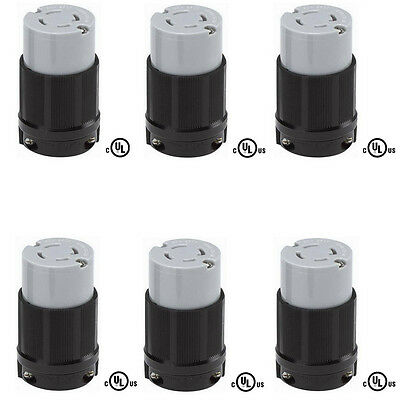 6 Pack of L15-30R Locking Connector, Rated for 30A, 250V, cUL Listed