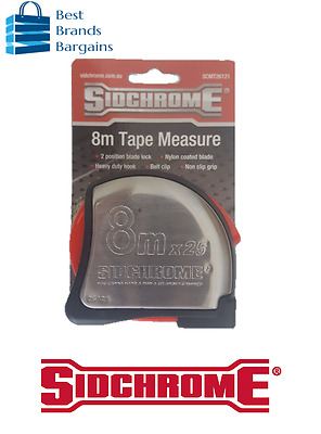 Sidchrome Tape Measure Stainless Steel Body 8m Metric SCMT26121