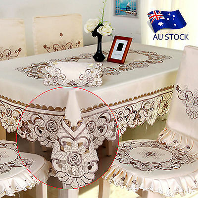 AU STOCK Polyester Square Floral Embroidered Tablecloth Home Hotel Table Cover