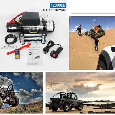 12000lbs Wireless Remote Control Electric Recovery Winch Kit Trailer Car Truck K